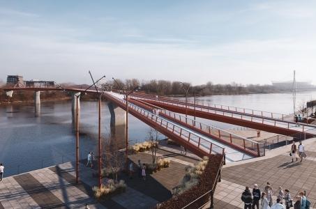 Warszawa. Pierwszy taki most na Wiśle.