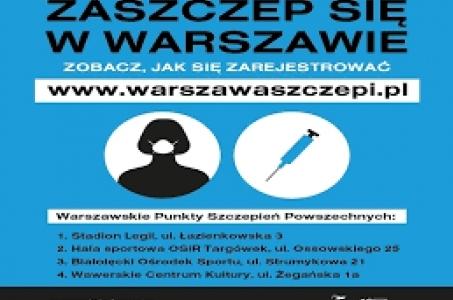 Warszawa.  Zarejestruj się na szczepienie w warszawskim puncie szczepień powszechnych.